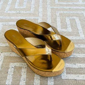 Jimmy Choo Cork Wedge Platform Sandals
